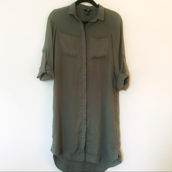 9130f0b1ec H M Dresses   Skirts - H M • Olive green midi shirt dress button up